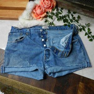 Levi's Shorts - Levis Vintage 501 button fly cut off jean shorts